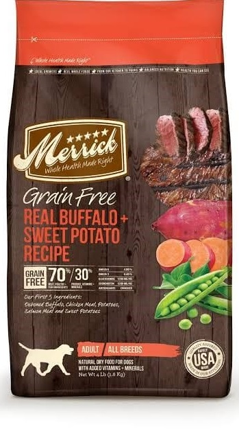 Merrick Cereal Free Real Buffalo Beef + Sweetened Potato Recipe Dehydrated Pooch Feed